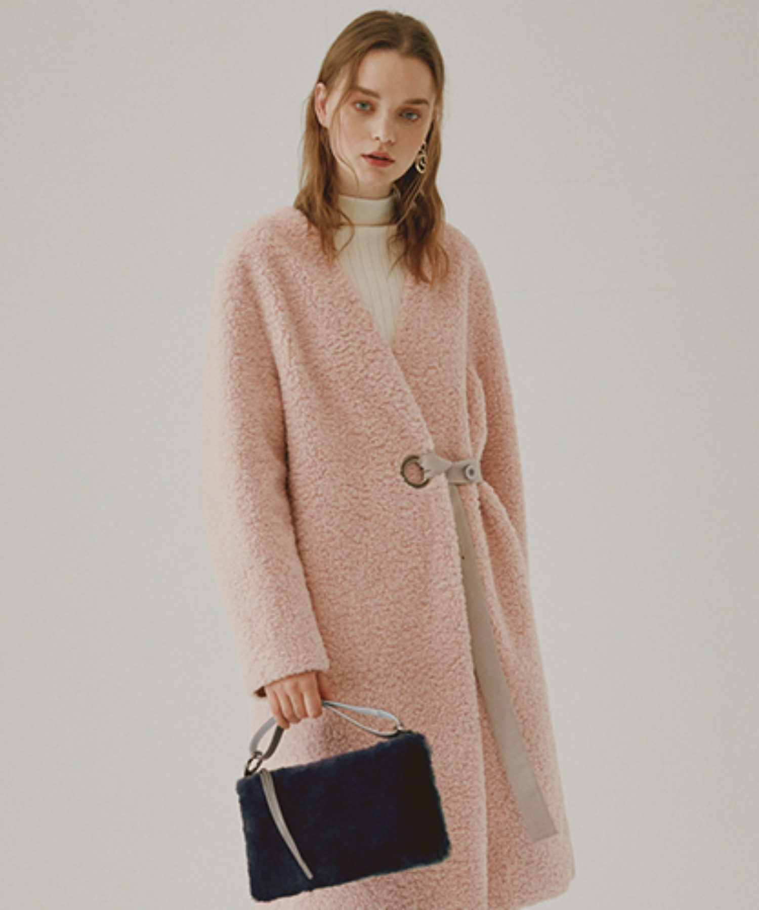 SPERONE COLLARLESS SUEDE REVERSIBLE COAT [PINK]