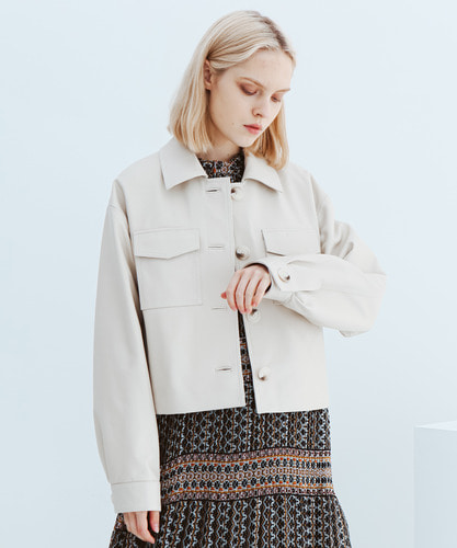SPERONE LAMB SKIN CROP POCKET JACKET [IVORY]