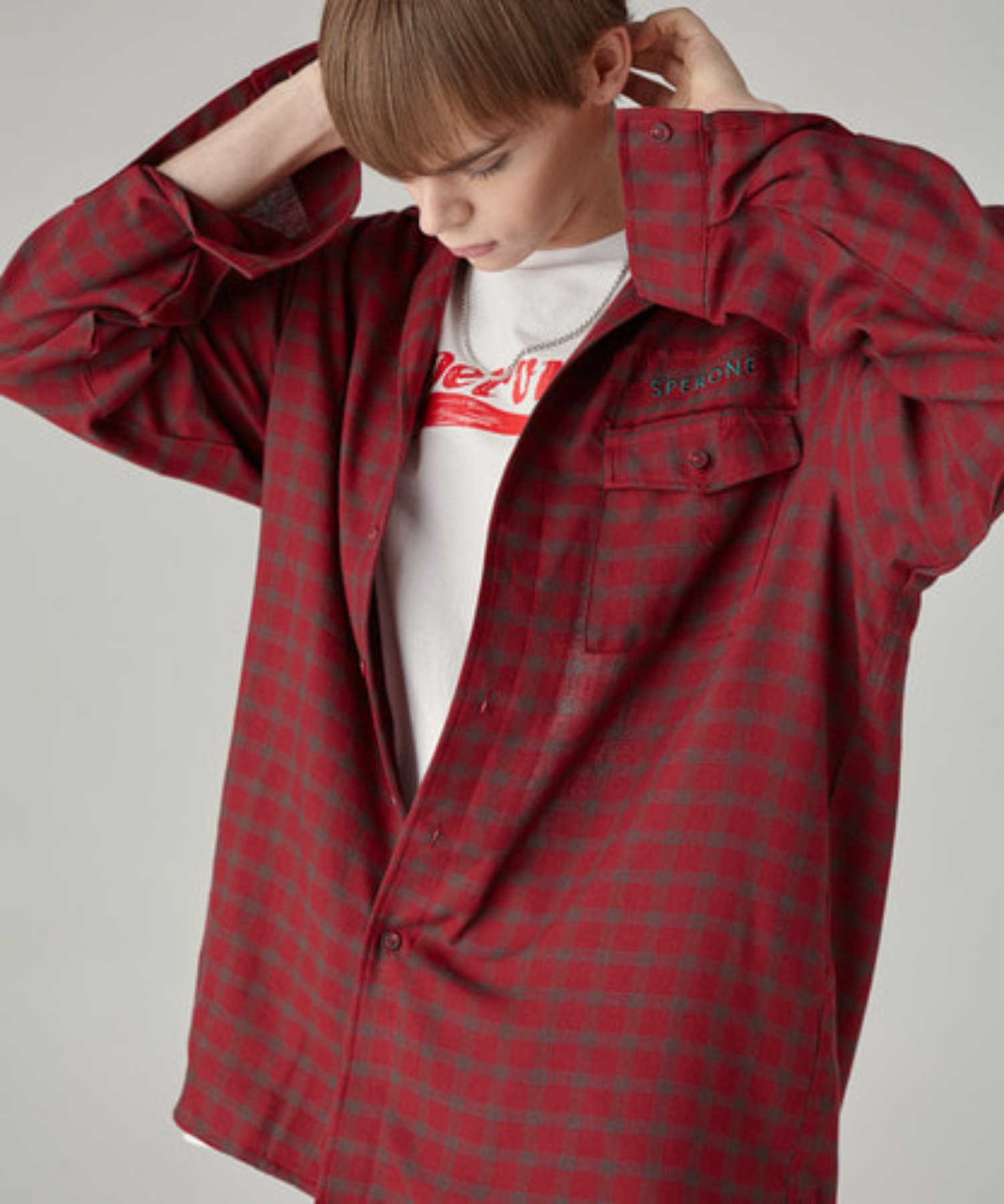 SPERONE UNISEX CHECK SHIRTS [RED]