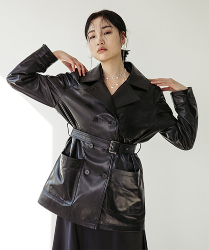 SPERONE LAMB SKIN SHORT TRENCHCOAT [BLACK]