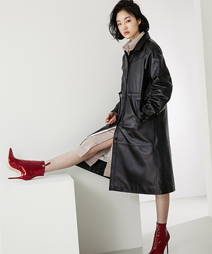SPERONE LAMB SKIN SINGLE TRENCHCOAT [BLACK]