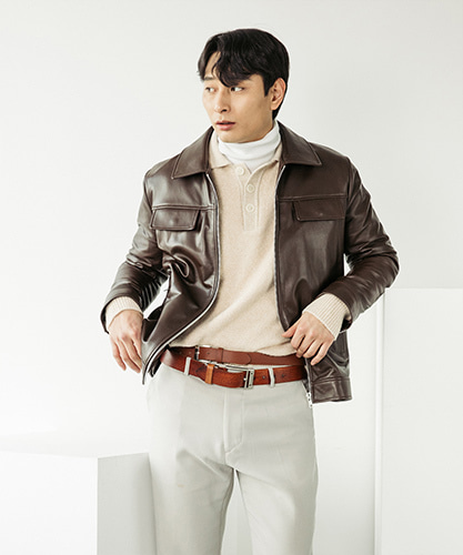SPERONE LAMB SKIN POCKET LEATHER JACKET [BROWN]