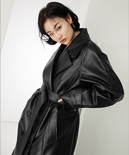 SPERONE LAMB SKIN TRENCHCOAT [BLACK]