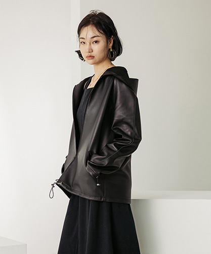 SPERONE LAMB SKIN HOOD JACKET [BLACK]