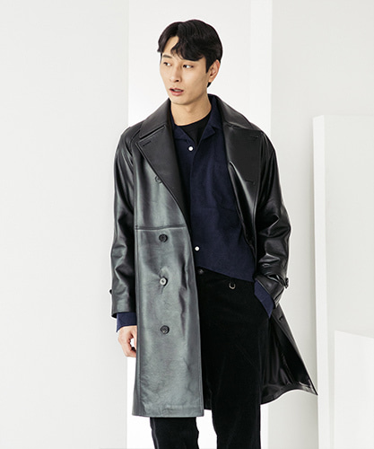 SPERONE LAMB SKIN TRENCH COAT [BLACK]