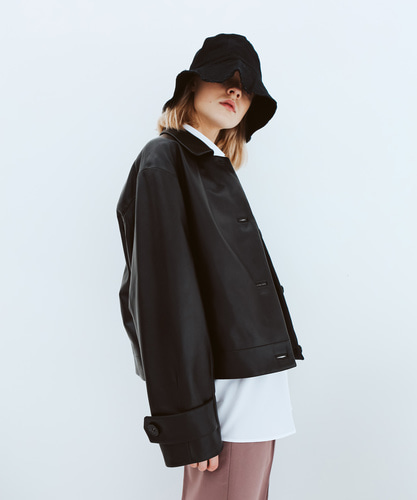 SPERONE LAMB SKIN SHORT LEATHER JACKET [BLACK]