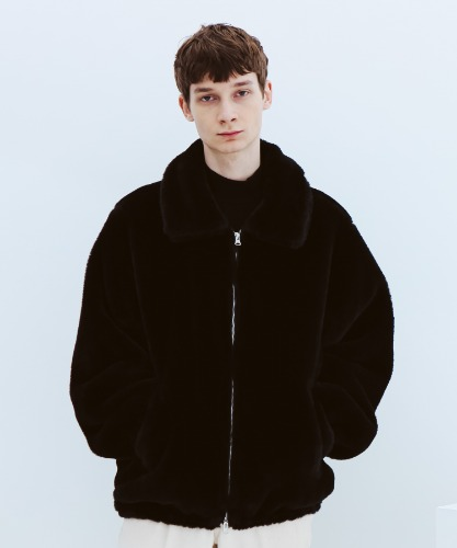 SPERONE UNISEX FUR ZIP-UP JACKET [BLACK]