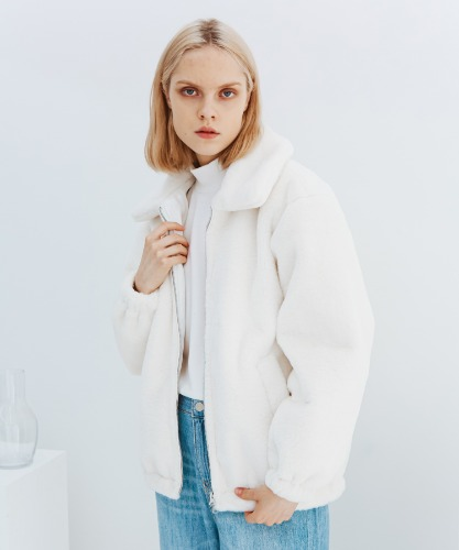 SPERONE UNISEX FUR ZIP-UP JACKET [IVORY]