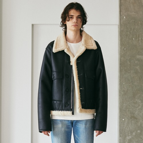 SPERONE Shearling Button Mustang [Black/Beige]